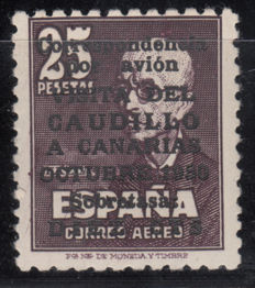 "Spain 1950 – ""Visita del Caudillo a Canarias"" (The leader's visit to the Canary Islands), + 10 c.s., 25 pesetas 1950. Graus certificate – Edifil 1083"