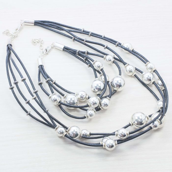 925/000 silver - Italian design set made of leather and beads - Length: 20-24 and 41-45 cm