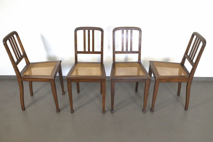Four art nouveau chairs - woven cane - Germany - 19/20th century