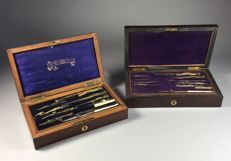 Two brass compasses/dividers sets in rosewood boxes - France - 2nd half 19th century