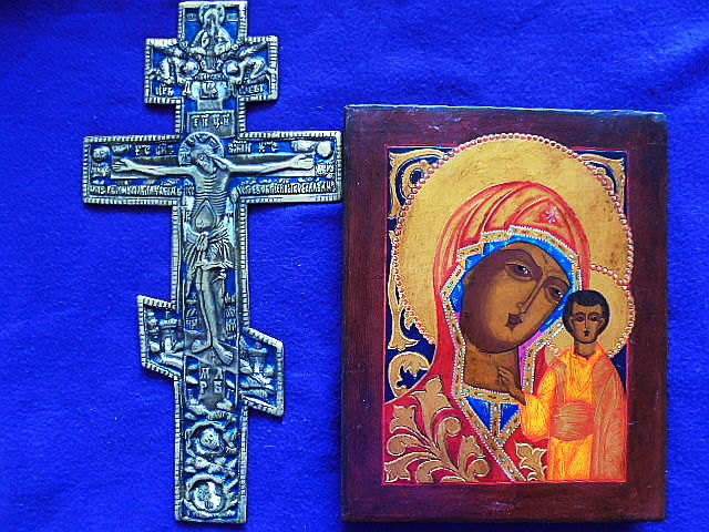 Set of russian orthodox  icon and the big bronze enamaled russian cross crucifix , hand painted, tempera, wood, bronze casting, XX th century