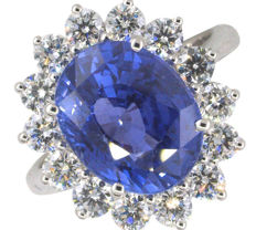 Sublime ring with unheated Ceylon sapphire and diamonds, GIA and IGI Certificates, weight: 7.25 ct - Size 55