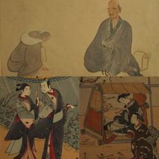 Suzuki Harunobu (1725-1770) - Collection of 3 Japanese prints - Japan