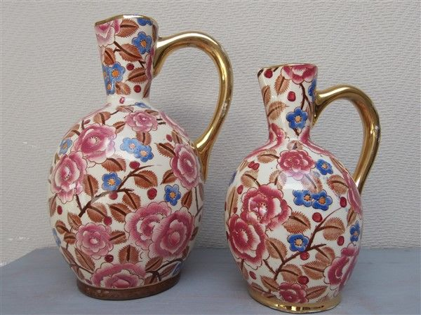 Boch Frères - 2 earthenware jugs with floral decor