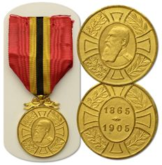 "Kingdom of Belgium: Commemorative Medal of the Reign of King Leopold II - ""1865 1905"" initial type! + 2 x Civic Decoration"