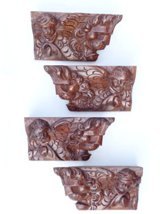 4 walnut ornaments with cherubs and lion heads - the Netherlands - end of 17th century