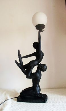 Vintage Large Lamp (84cm height) with sculpture of couple of naked dancers