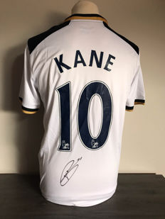 Harry Kane signed Tottenham Hotspurs home shirt 2016 - 2017 with photo evidence and certificate of authenticity.