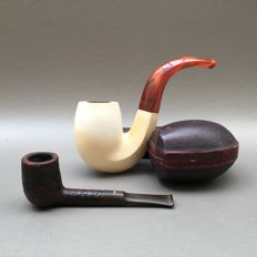 Very large meerschaum pipe with pressed amber stem - USA, ca. 1910