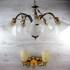 1950s hanging and wall lamp - Netherlands, ca. 1950