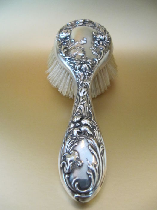 Foster & Baily -  sterling silver hair brush with young lady, birds & flowers