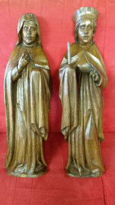 2 wooden sculptures, 17th / 18th century