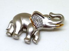 Pendant representing an elephant, in 2 golds with diamond tips totalling 0.25 ct