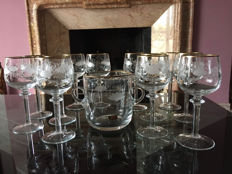 12 glasses and an ice bucket in finely crafted Bohemian crystal