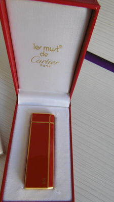 Cartier red Chinese lacquer & gold
