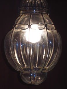 Old Venetian mouth-blown lamp in wire frame, approx. 1955, Venice (It)