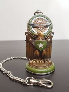 """Harley Davidson """"WLA Military"""" collector's pocket watch on stand - Franklin Mint"""