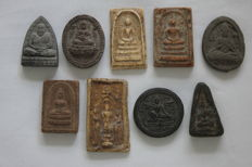 A collection of 9 Buddhist amulets - Thailand - early/late 20th century