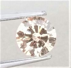 1.05 carat - Natural Fancy Champagne Round Brilliant Cut  - VS2 clarity- Comes With AIG Certificate + Laser Inscription On Girdle