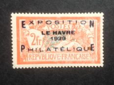France 1929 - Philatelic exhibition of Le Havre - Yvert 257A signed - 2 fr. orange and green/blue