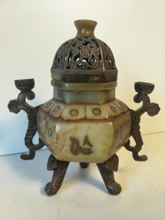 Incense burner in talc and bronze - China - second half of the 20th century