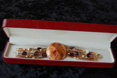 Genero - Gold bracelet (18 kt) with garnet - Length 19 cm