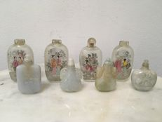 Eight assorted snuff bottles (glass and hardstone) - China - second half 20th century