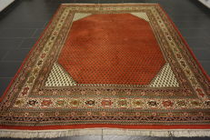 Beautiful hand-knotted oriental carpet Sarouk Mir 245X310 cm made in India end of the 20th century
