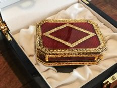 Ruby red enamel dresser box of 'Faberge' - second half 20th century