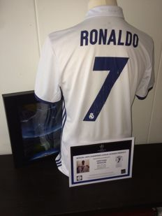 Cristiano Ronaldo / Real Madrid - Signed and Boxed shirt 16/17. Official Uefa Champions League product + COA and photoproof.