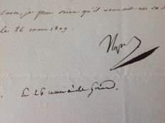 Napoleon; Letter from Menneval to the General Clarke Minister of war, signed by Napoleon 1st ('Napol') - 1809