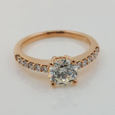 18k. pink gold diamonds ring - 1.30 ct. totaal with HRD certificat- 18k. pink gold, size 57 /18mm