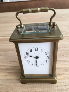 Tiffany & Co brass carriage clock in original travel case – 19th century