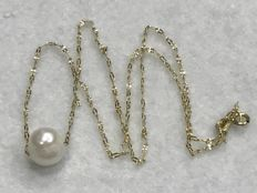 18 kt Choker in Gold with Cultured Pearl - 37.60 cm