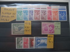 France - Michel number 659/68 cut and postage due Michel no.  P 2 and Michel no. P 9 and other stamps