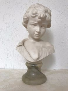 bust of a young child on an onyx base, second half of 20th century