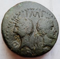 Roman Empire - AE as of Nimes Years 16-15 before Christ 12.8 g, 2.7 cm. On obverse reseal (D...) - Agrippa and Augustus