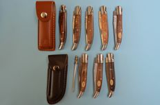 Set of 8 folding knives and 2 leather storage cases and sharpening steel