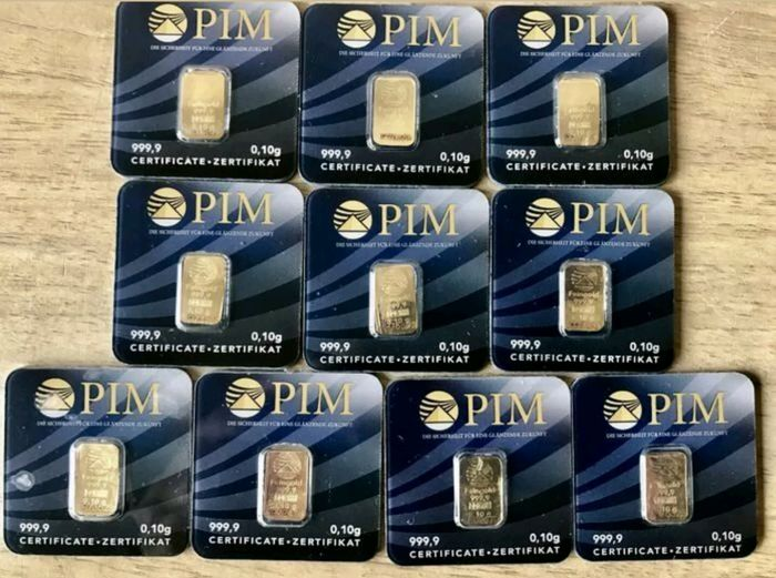 10 small ingots of pure gold 24 ct