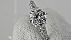 1.13 ct round diamond solitaire ring 14 k gold *** NO RESERVE PRICE ***