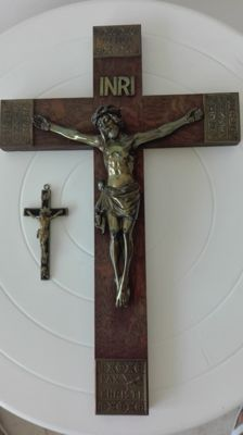 Vintage brass crucifix - tiny brass crucifix