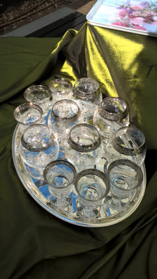 Crystal glass set from Venice (Italy) on silver plated tray H.H. 1990s from The Netherlands