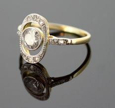 Belle Epoque 18K yellow gold ladies ring with diamonds (0.60 ct total), ca. 1910