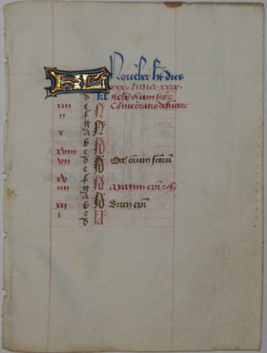 "Manuscript; Original calendar leaf ""November"" for the month of November, from a manuscript - 15th century"