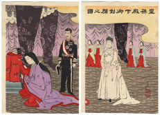Original colour woodblock print of the Meiji imperial couple in ceremonial dress - Japan - Late 19th century