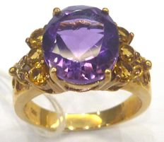 Amethyst & Citrine 14KT Yellow Gold Ring US Size 7
