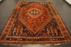Collector's piece antique Persian carpet Qashqai Shiraz 230X300 cm natural dyes made in Iran Old rug 100% wool
