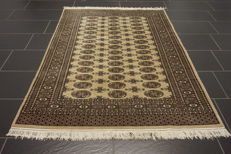 Magnificent handwoven Oriental carpet Buchara Jomut. 131 x 180 cm. Made in Pakistan, mid of the 20th century