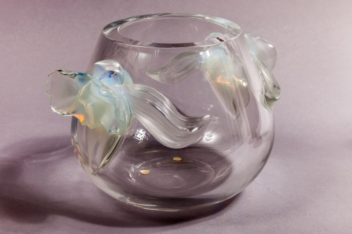 Lalique France - signed vase with an applied orchid
