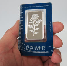 Switzerland - 1 ounce silver bar 'PAMP / Rose' - 1 oz silver